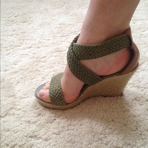 Green strapped wedges